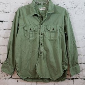 Madewell green button up shirt